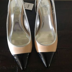 Zara Blocked Heel Two Tone Slingback Shoes